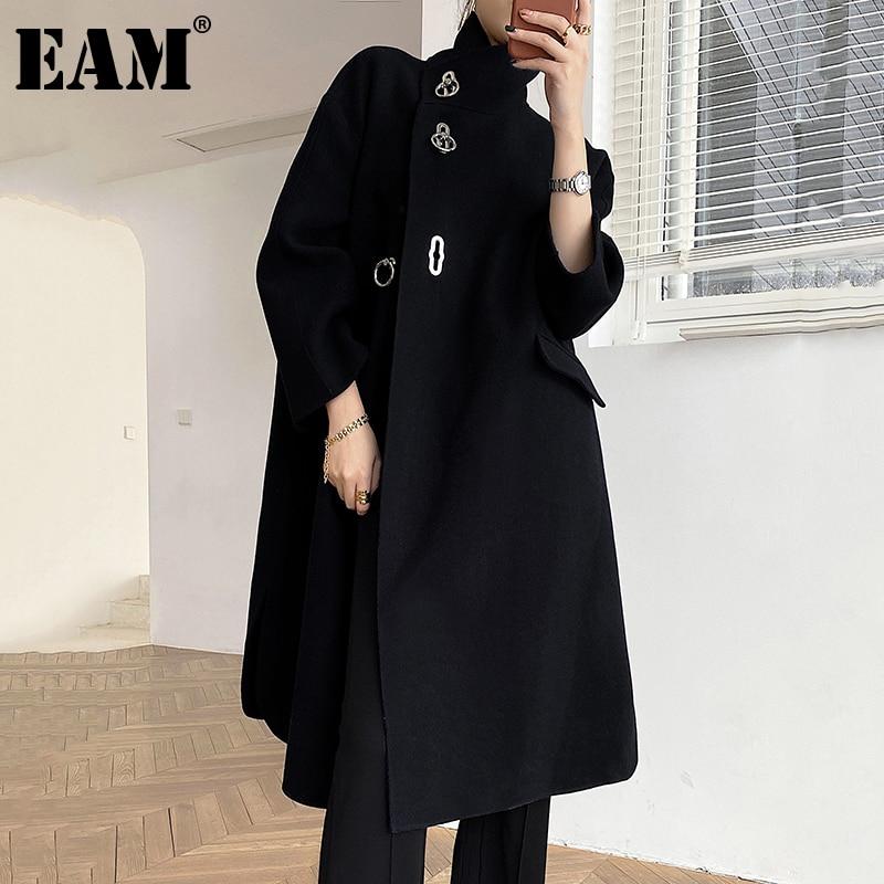 [EAM] Loose Fit Black button Thick Woolen Coat Parkas New Suit Collar Long Sleeve Women Fashion Tide Autumn Winter 2021 1DD3048