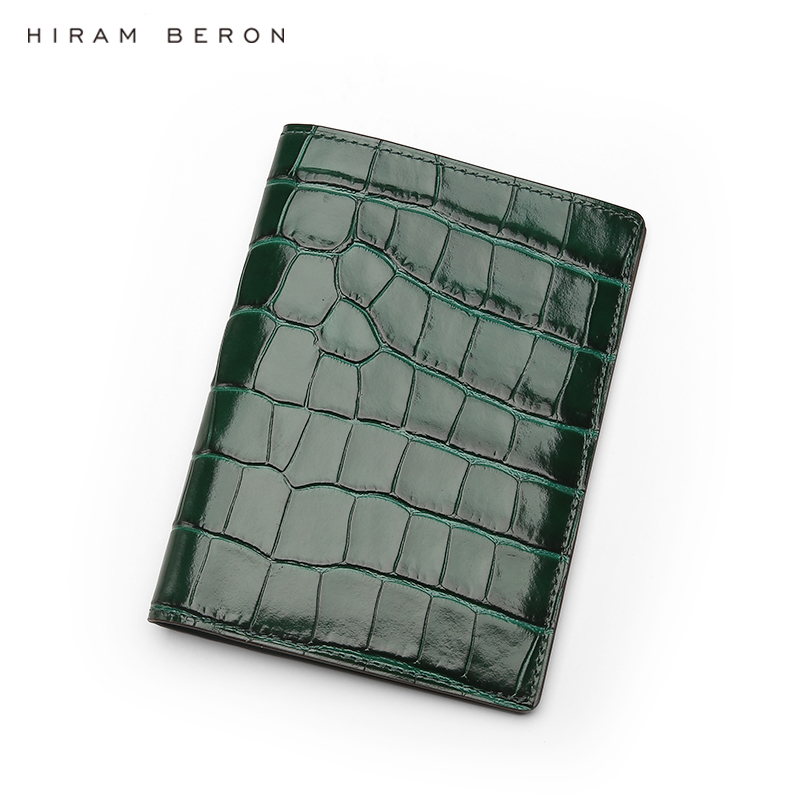 Hiram Beron Personalized Leather Passport Case RFID Blocking Embossed Crocodile Pattern Luxury Product Dropship