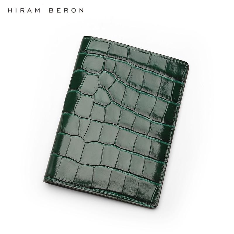 Hiram Beron Personalized Leather Passport Case RFID Blocking Embossed Crocodile Pattern Luxury Product Dropship