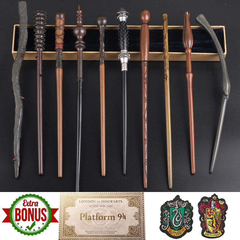 31 Kinds Potters Magic Wands With Gift Box Dumbledore Magic Wand Harried Magical Wand With 1Ticket And 2 Cloth Badges As Gift