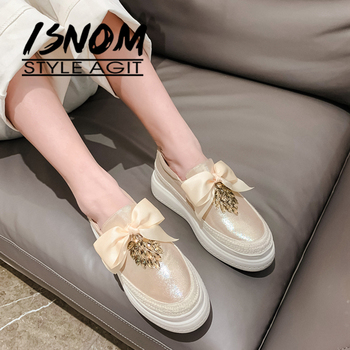ISNOM Platform Flats Weave Craft Leather Flats Crystal Flower Loafers bow knot Fashion Women Flat Sneakers Slip On Shoes