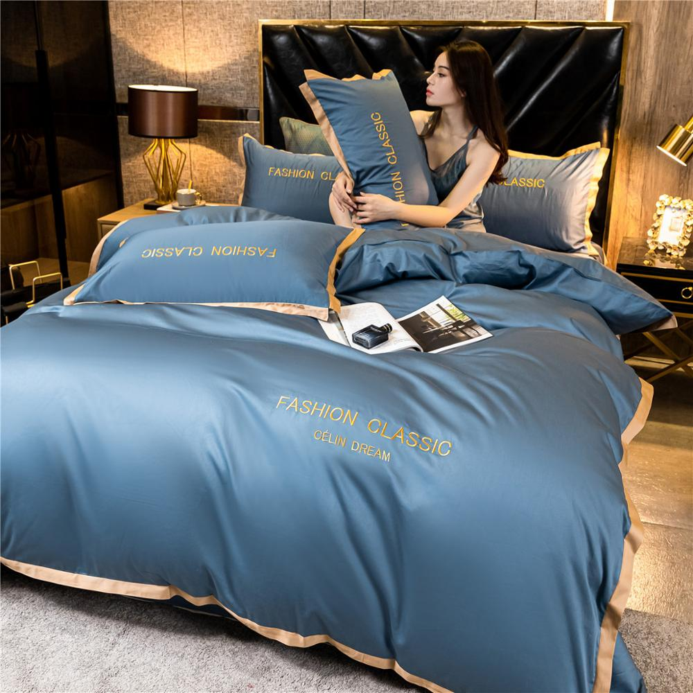 High-end quality Egyptian cotton bedding set embroidered satin light luxury quilt cover duvet cover bed sheet pillowcases 2