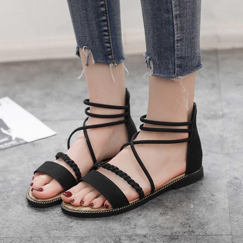 Women Sandals Summer Roman Wind Leopard Women Sandals Low-Heeled Bottom Breathable Light Beach Sandals Women
