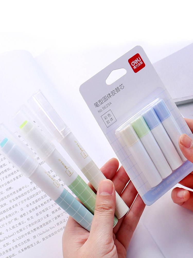 1 + 4 шт./компл. твердый клей в виде ручки, креативный офисный клей-карандаш, 1 шт., твердый клей-карандаш с 4 стержнями для клей, ручной Клей для н...