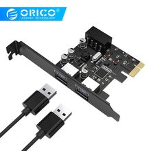 цена на ORICO 2 Port USB 3.0 PCI-E Express Card SuperSpeed USB3.0 Hub Adapter PCI-E Expansion Card with a 15pin SATA Power Connector
