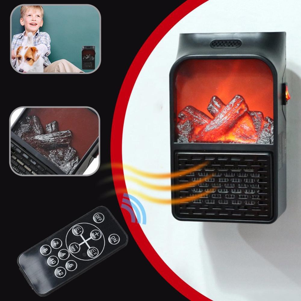 900W Mini Electric Wall-outlet Flame Heater Air Warmer PTC Ceramic Heating Stove Radiator Household Wall Handy Fan EU/US/UK Plug