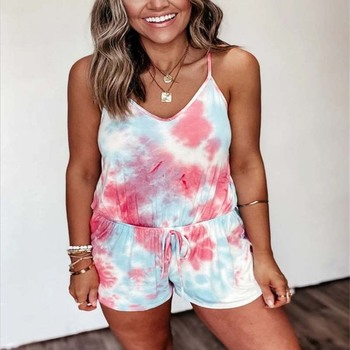 Summer Street Style Casual Playsuits for Women Shorts Tie Dye Printed Spaghetti Strap V-neck One-piece Straight Shorts Playsuits casual tie strap playsuits in pink