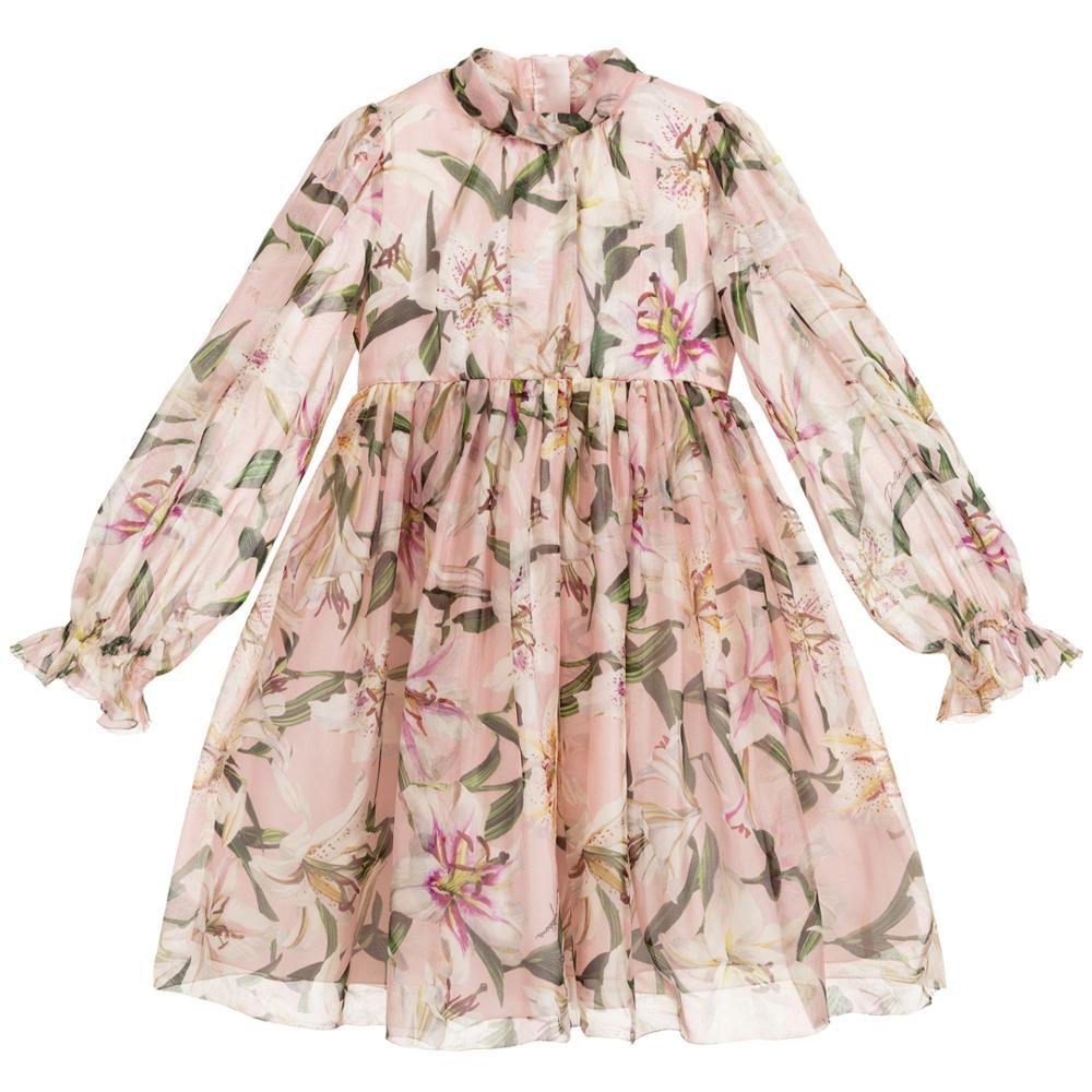 chiffon flower children clothing baby girls design dress  kids dresses