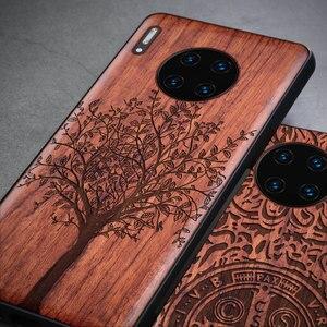 Image 2 - 2019 Nieuwe Voor Huawei Mate 30 Pro Case Slim Wood Back Cover TPU Bumper Case Op Huawei Mate30 Mate 30 pro Telefoon Gevallen