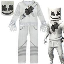Cem grandes sílabas eletrônicas cosplaydj algodão doce banda marshmello roupas de uma peça meninos dia das bruxas desempenho roupas