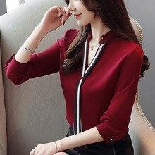 цена на Autumn blouse women 2019 long sleeve tops for women white shirt V-neck solid button korean fashion clothing chiffon Spliced 0365