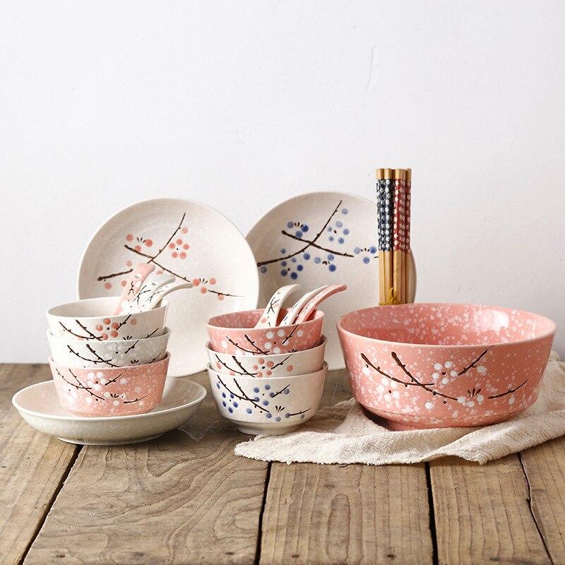 Couverts en céramique de style japonais | Ustensiles de table, cuillère à baguettes, plat assiette riz salade nouilles bol assiettes à soupe, service de vaisselle 14/15/16/22 pièces