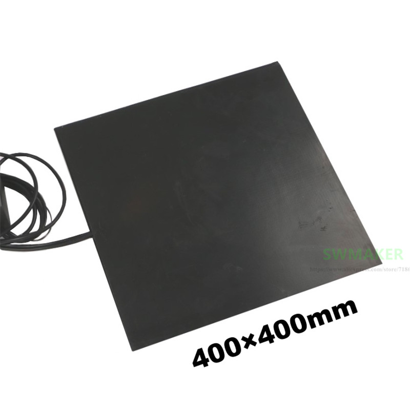 400x400mm 450W 600W 1000W 3D Printer Silicone Rubber Heater Pad 400*400mm Black Heating Pad