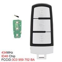 434MHz 3 botones sin llave Flip funda de mando a distancia inteligente ID48 Chip 3C0959752BA ajuste para VW Passat B6 3C B7 Magotan CC 2006-2011