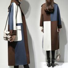 Женское длинное шерстяное пальто элегантное свободное в Корейском