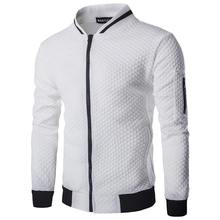 Sports Casual Street Jacket Men's Autumn Lattice Slim Zipper Long Sleeve Cardigan Stand-Up Collar Coat Polyester S-3XL