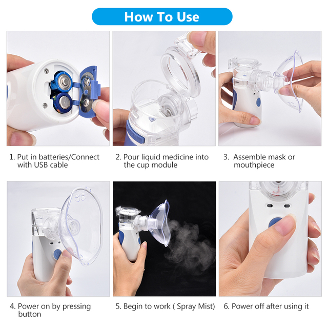 Inhaler Portable Nebulizer for inhalation Handheld Ultrasonic Steaming Devices Home USB Rechargeable Nebulizer for Adults Kids 4