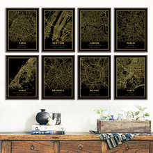 Amsterdam Dublin Paris London Customized City Map Print Black Golden Nordic Poster Wall Art Canvas Painting Living Room Decor