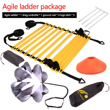 Speed Agility Training Kit Agility Ladder with Carrying Bag Fitness Equipment Body Building Agile Ladder Speed Cone Training Set adjustable footwork agility ladderdisc resistance umbrella set football baseball basketball speed agility training set