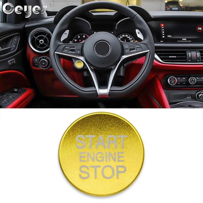 Ceyes, автомобильный стиль, зажигание, пусковое кольцо, кнопка остановки двигателя, аксессуары для интерьера, чехол для Alfa Romeo Mito 147 156, Giulietta, наклейка - Цвет: Button Cover Gold