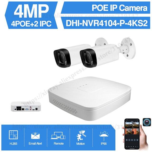 Dahua 4MP 4 + 2/4 Sicherheit CCTV Kamera Kit Original NVR NVR4104 P 4KS2 16POE & 2/4 stücke OEM IP Kamera Zoom IPC HFW4431R Z 4X ZOOM
