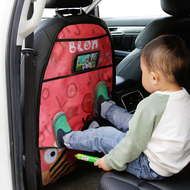 Cartoon Seat Cover Kid Cute Car Seat Back Cover Protector for Kids Children s Anti-Kick Mat Touch Screen Storage Bag Waterproof