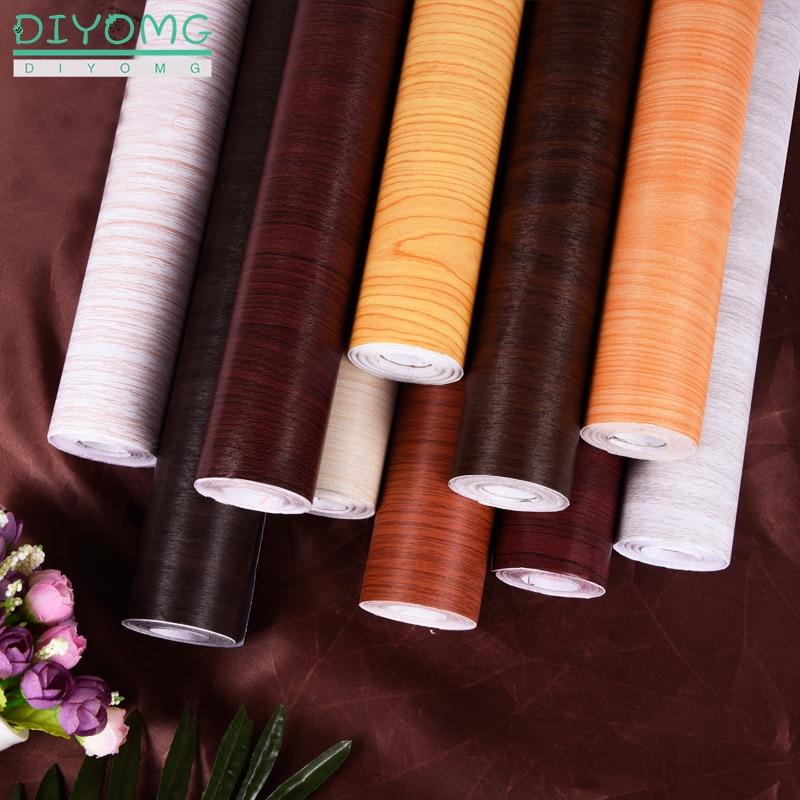 PVC Waterproof Wood Grain Wallpaper 3D Self Adhesive Contact Stickers For Furniture Cabinets Kitchen Wardrobe Door Decor 10M