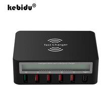 Kebidu 液晶デジタルディスプレイタイプ C 急速充電器 6 ポート USB 充電ドック qc 3.0 と 10 ワットワイヤレス充電器 iphone 5 6 7 8 ×