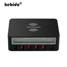 kebidu LCD Digital Display Type C Fast Charger 6 Port USB Charging Dock QC 3.0 with 10W Wireless Charger For iPhone 5 6 7 8 X