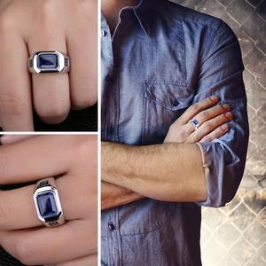 Image 4 - JewPalace 4.3ct 블랙 스피넬 만든 사파이어 반지 925 스털링 실버 반지 남자 결혼 반지 실버 925 보석 쥬얼리