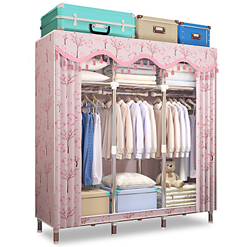 Simple Wardrobe Folding Portable font b Closet b font Bold Reinforced Fabric Full Steel Frame Multifunctional