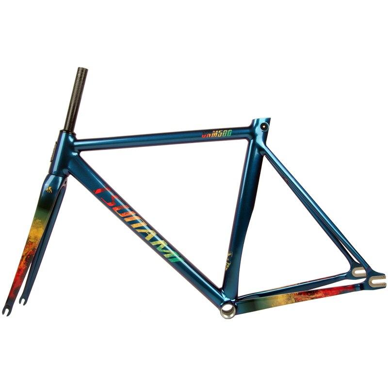 TSUNAMI Bicycle Fixed Gear Frame Aluminium Frame Carbon Fork 700c*52cm 55cm Chameleon Single Speed Bike Frameset