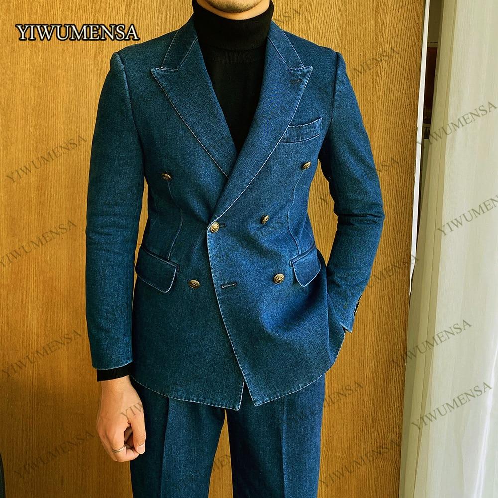 Blue Denim Peak Lapel Tuxedo Double-Breasted Blazer 2021 Jacket With Pants 2 Piece Set Mens Suit For Wedding Groomsman Business