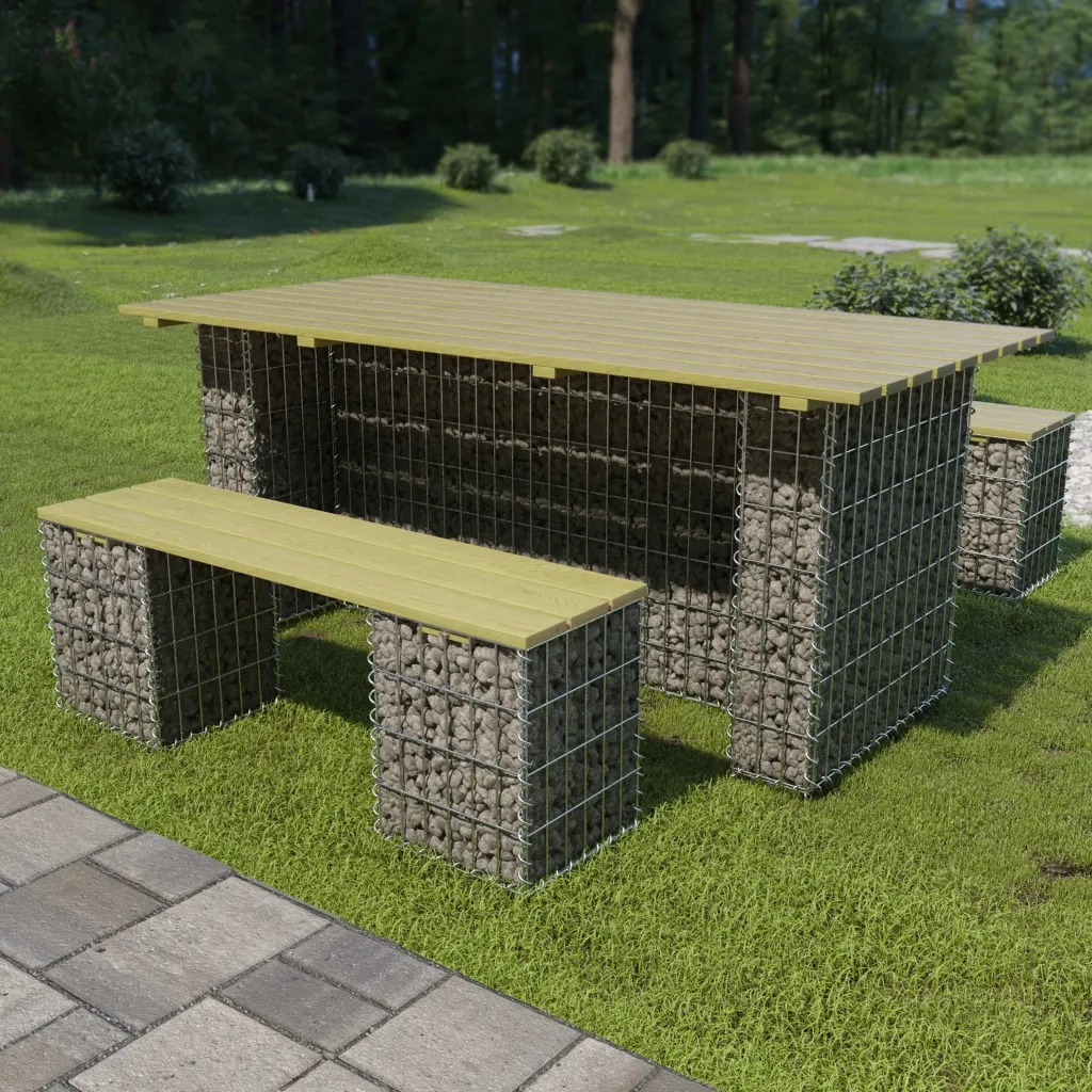 VidaXL 3 Piece Outdoor Dining Set With Steel Gabion FSC Pinewood 275902