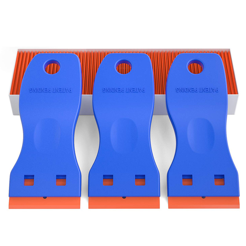 3 PCS Mini Plastic Scraper Tool Utility Knife with 120 PCS Double Edged Razor Blades for Glass  Removing Labels  Stickers and De|Knives|   - title=