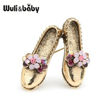 Wuli&baby Retro Vintage Shoes Brooches Women Metal Pink Rhinestone Flower Bowknot Brooch Pins Gifts