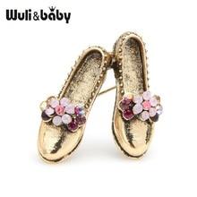 Wuli y Retro Vintage broches con forma de zapato de las mujeres de Metal rosa Rhinestone flor Bowknot zapatos broche regalos