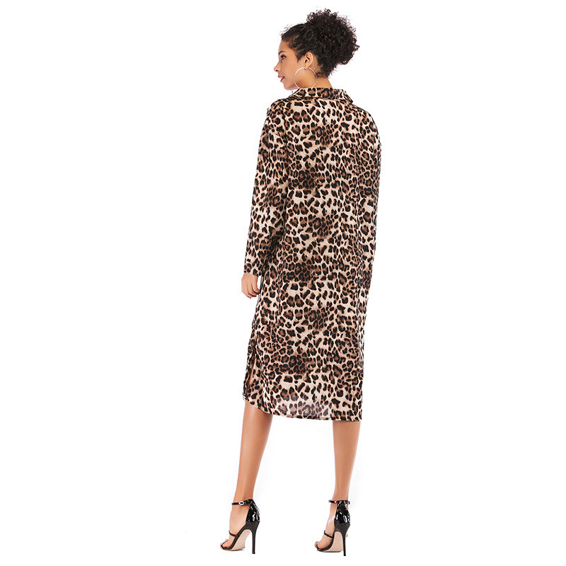 Echoine Party Elegant Chiffon Shirt Dress Women Button Sexy Leopard Print Loose Split Mid Calf Ladies Highstreet Woman Outerwear in Dresses from Women 39 s Clothing