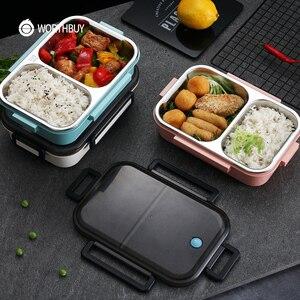 Image 5 - WORTHBUY nova lancheira japonesa para crianças escola 304 aço inoxidável bento lancheira à prova de vazamento recipiente de alimentos crianças caixa de comida