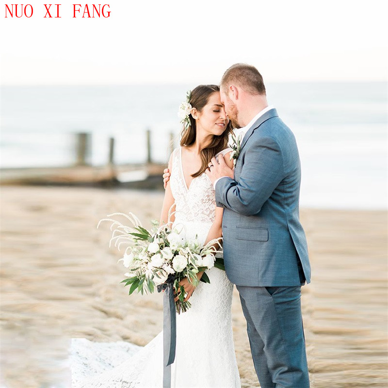 NUOXIFANG Romantic Sexy V-neck Backless Mermaid Wedding Dress Simple Lace Bridal Dress  Beach Wedding Gown 2020 Robe De Mariee