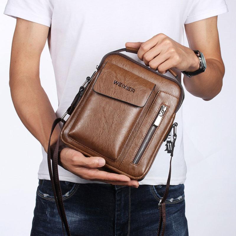 Casual Men Shoulder Bag Vintage Crossbody Bags High Quality Male Bag PU Leather Handbag Capacity Men Messenger Bags Tote Bag 4