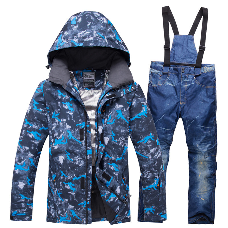 Denim Ski Suit Men Winter 2019 Waterproof Windproof Thicken Warm Snow Clothes Men Ski Sets Jacket Skiing And Snowboarding Suits