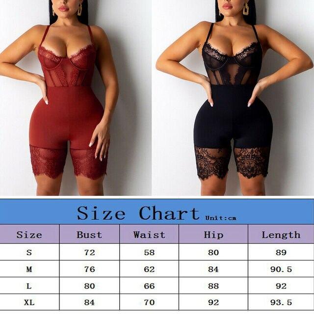 Women Sexy Romper Lace Backless Shorts Jumpsuit Hollow Out Playsuit Bodysuit 2