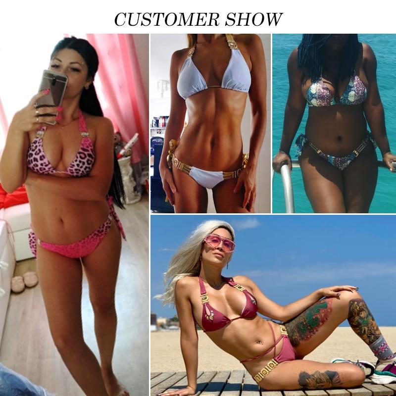 H84ab128fbfdd4846ac0e6cb9233a3b8a9 Bikinx Snake print bikinis 2019 mujer bathing suit Triangle sexy female swimsuit Push up swimwear women bathers Micro bikini new
