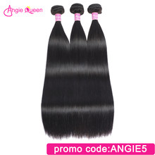 Angie Queen Straight Indian Remy Hair Weaves Natural Color Hair Bundles 100% Human Hair Bundles Remy Hair Weft 16 18 20 22 24 26(China)