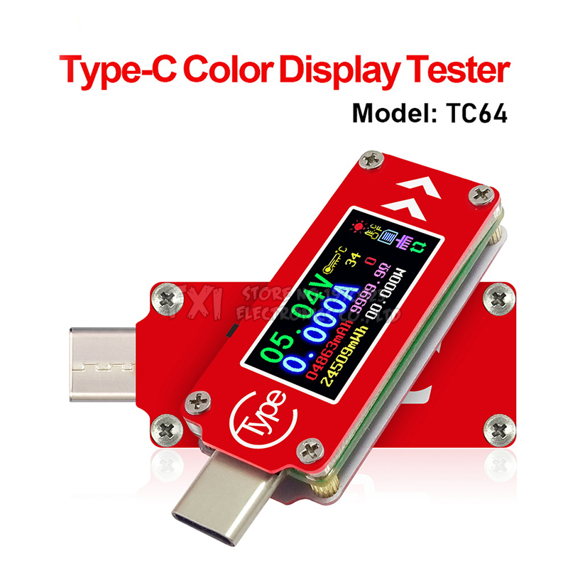 TC64 Type-C color LCD USB Voltmeter ammeter voltage current <font><b>Module</b></font> meter battery <font><b>PD</b></font> charge power bank USB Tester <font><b>Module</b></font> image