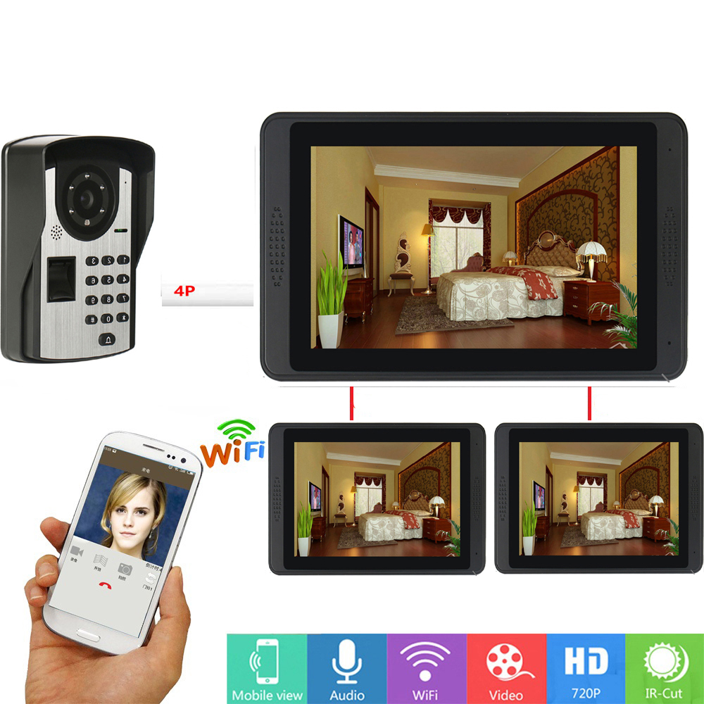 HD 1000TVL Camera Wired /Wireless Wifi Video Door Phone Doorbell Intercom System 7 Inch 3 Monitor With APP Remote Control