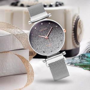 Diamond Wristwatch Bracelet Mesh-Strap Magnetic Silver Quartz Starry Stainless-Steel