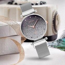 Vrouwen Horloge Armband Zilver Roestvrij Staal Sterrenhemel Magnetische Mesh Band Vrouwen Quartz Diamond Horloge Luxe Horloges 2020