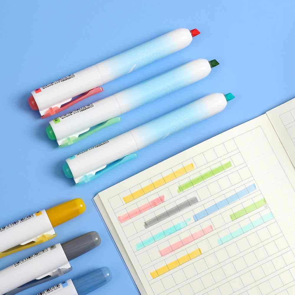 1 Máy tính ép Hàn Quốc cao cấp bút Học Sinh Bút đánh dấu chìa khóa Mark 6 màu Bút Đánh Dấu cho viên đạn Tạp Chí học tập Kawaii